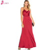 beautiful women wine backless red long satin evening dresses patterns