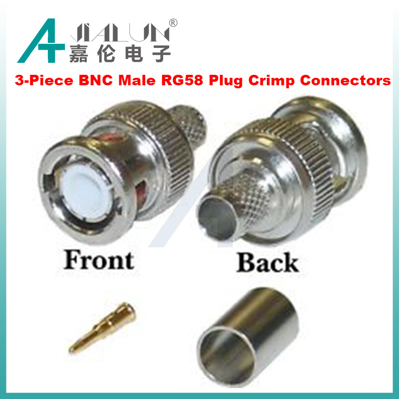 JIALUN 3-Piece BNC Male RG58 Plug Crimp Connectors