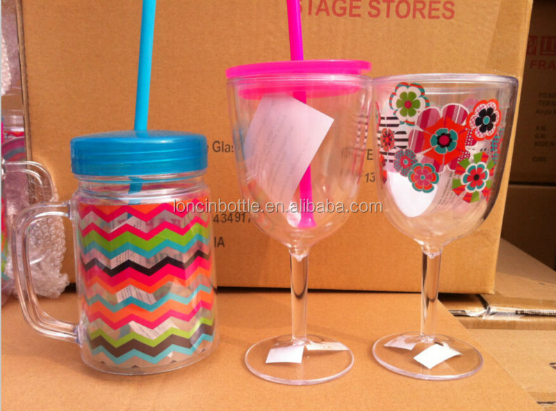 12oz Wine Tumbler With Stem Wine Sippy Cup 13 Ounce Insulated Wine Glass With Lid And Straw