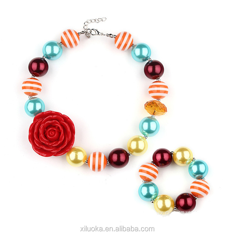 Wholesale Fashion Chunky Necklace Red Rose Arcylic Bubblegum Beads Jewellery Necklace