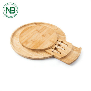 Bamboo Serving Tray Cheese cutting Board with round Slide Out storage drawer