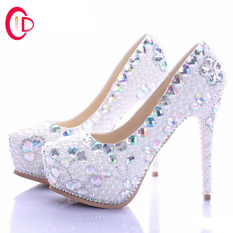 2015 new color handmade crystal diamond wedding shoes rhinestone high heels party shoes wedding bridal shoes size 34-39