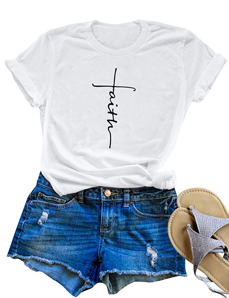 6addb46d711eeb SCX Women Cross Faith Printed Tees Letter Print T-Shirt Summer Grey Tees