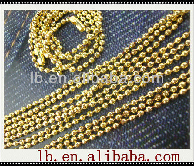 long big 2017metal hot sale popular round gold/silver nickel free stainless steel metal wholesale link 1.2/6mm ball bead chains