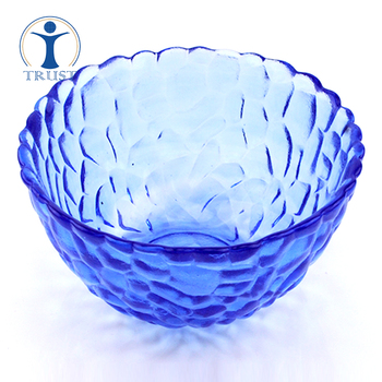 China Factory Price Heart Embossed Food Soup Smart Home Wedding Decoration Blue Glass Salad Bowl