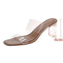 Женские сандалии-шлепанцы на прозрачном каблуке, летние прозрачные шлепанцы на высоком каблуке, свадебные сандалии, 2019(Китай)