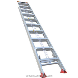 Fiberglass Extension Construction Ladder with Cable Hook and V-Rung Attached, 28 Feet, 300 Pound Duty Rating