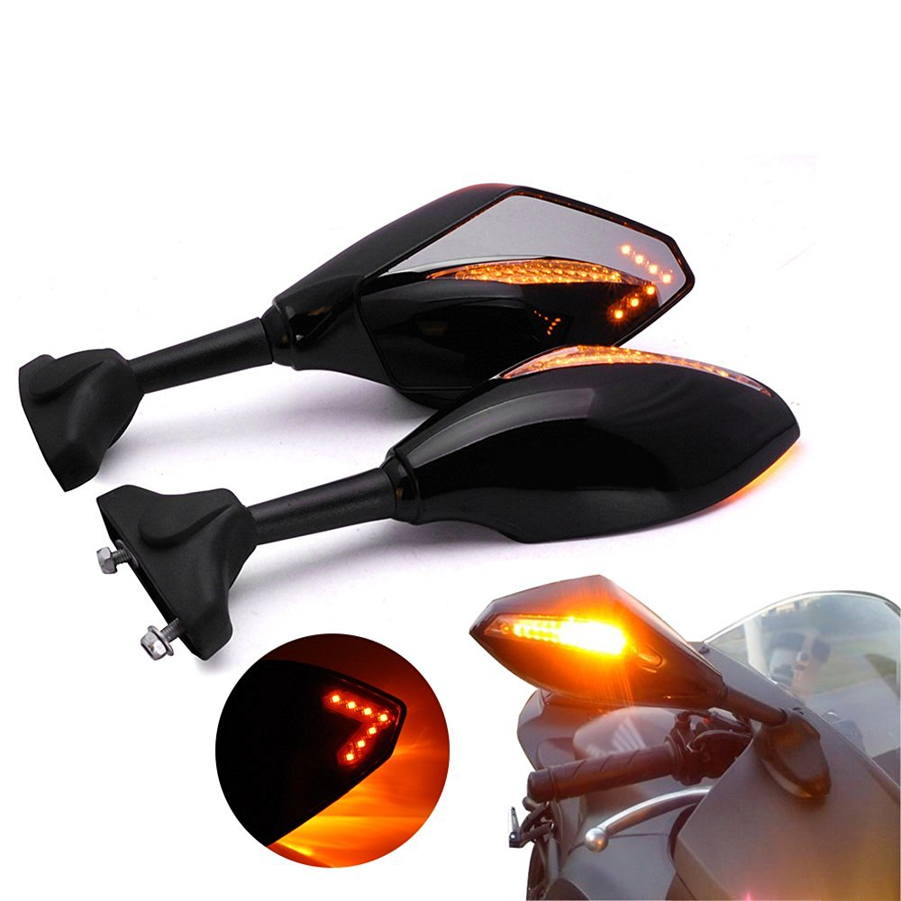 2x Black Integrated Smoke Lens Front & Rear Turn Signal Anti-Glare Rearview Side Mirror with Arrow LED Accent Light For 2005-2013 Hyosung GT250R GT650R
