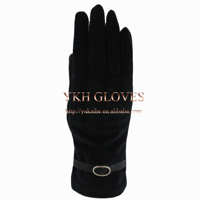 Black for women suede fabric back with velvet palm cold weather gloves