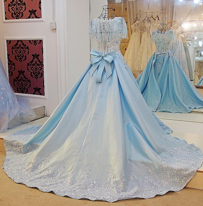 Ls32479 2018 Butterfly Arabic Dress Evening Bow Back Blue Short ...