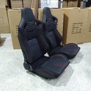 New Style Black PVC Leather Red Stitch Car Racing Seats with Double Sliders JBR1054B