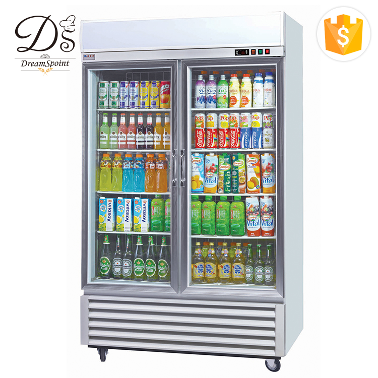 Factory price refrigerator showcase commercial cooler stand 2 door upright display freezer for sale