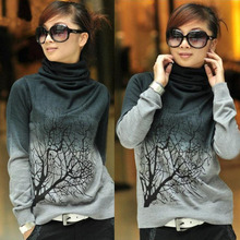 2015 Womens Turtleneck Wool Pullover Sweaters Tree Pattern Shirt Knitted Tops S M L XL