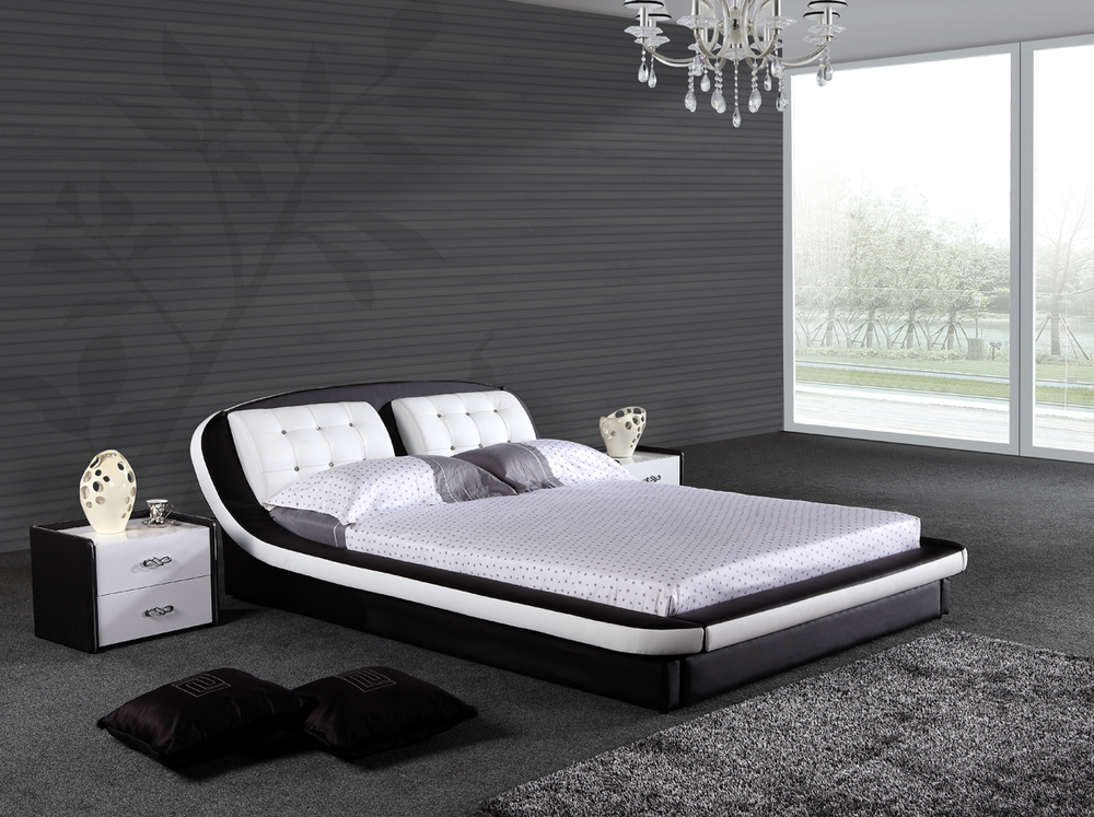 Latest design modern wave shape black king size leather for King size bed designs
