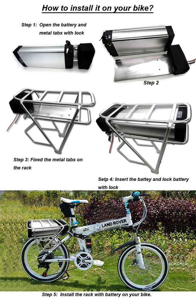 Powerful 1000w Ebike 48v 24ah E Bike Battery With Tail Light Amp Usb Port Used Samsung Cell 30a