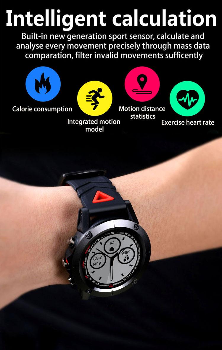 GPS Smart Bracelet IP68 Waterproof Heart Rate Monitor Blood Oxygen Blood Pressure Bracelet Watch Sports Compass Smartwatch