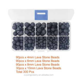 300pcs Black Lava Stone Round Loose Beads in handy plastic storage package with Free Crystal String for Jewelry Making (ABK001)