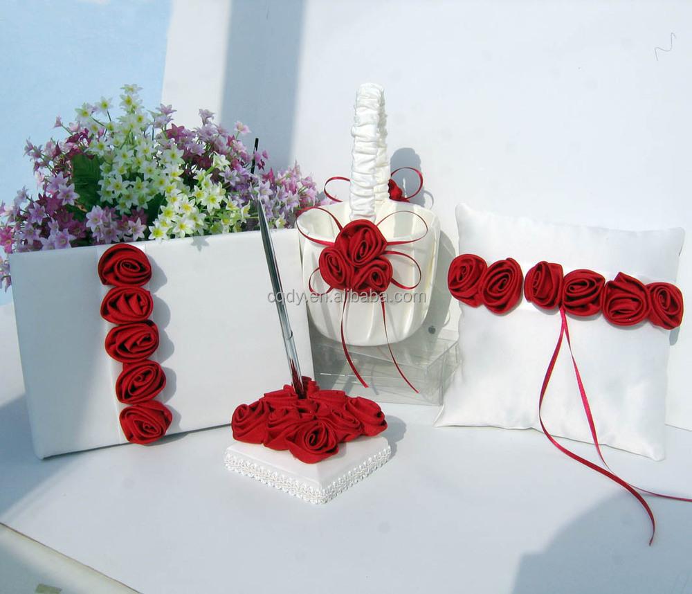 Romantic Wine Red Rose Wedding Ring Pillowwedding Love Supplyparty