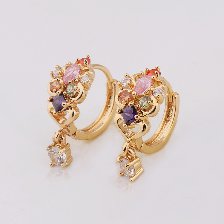 Shiny Single Stone Gold Jhumka Earrings Design With Price Earring Designs