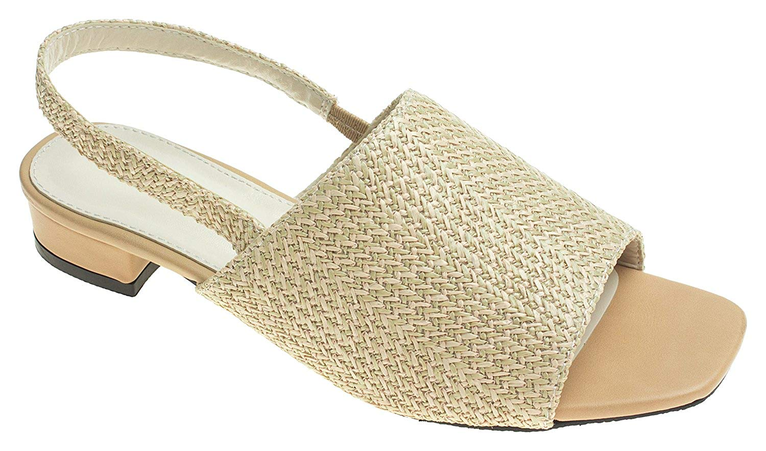 10283f85f8f AnnaKastle Womens Open Toe Natural Color Woven Slingback Flat Mule Sandals