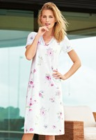 2014 New Floral Print V-neck Short Sleeve Cotton Jersey Lace Long Nightgown
