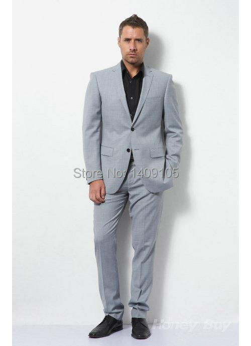 Buy Unusual Tailor Made Grey Wool Notch Lapel Two Buttons Back Side ...