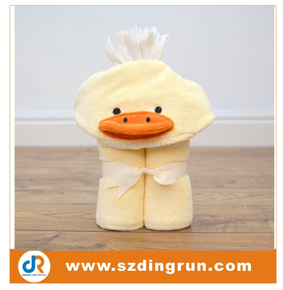 100% cotton/bamboo material super soft original duck baby hooded towel