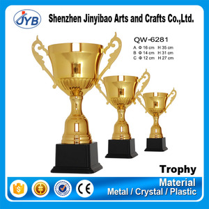 Folk Art Style and Business Gift Use Custom Big Size Golden Metal Trophy and Cups for Sport Event