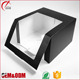 Luxury balck custom clear plastic PVC window paper gift packaging box with strong quality, packing box for cake and hat