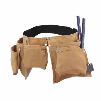 Young Builder Kids Leather Tool Pouch Bag Child Carpenter Pencils Set Durable suede tool belts for kid with leather hammer loop