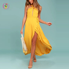 Hot Sales Adult Ladies Evening High Halter Neck Yellow Long Dress Splits See Through Sleeveless Maxi Dress