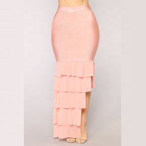 Country Apparel Pink Ruffles Bandage Women Long Skirt Pattern