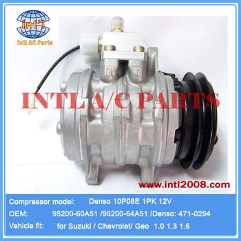 Compressor 10p08e Denso Fits Suzuki /chevrolet /geo 95200-60a51 ...