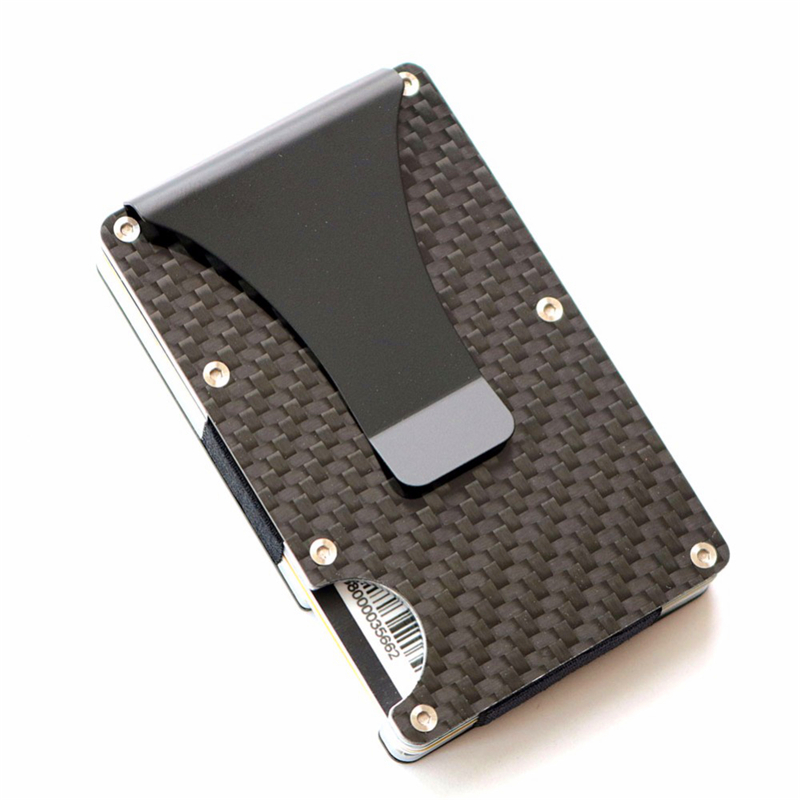 Carbon Fiber Credit Card Holder RFID Blocking Anti Scan Metal Wallet Money Cash Clip