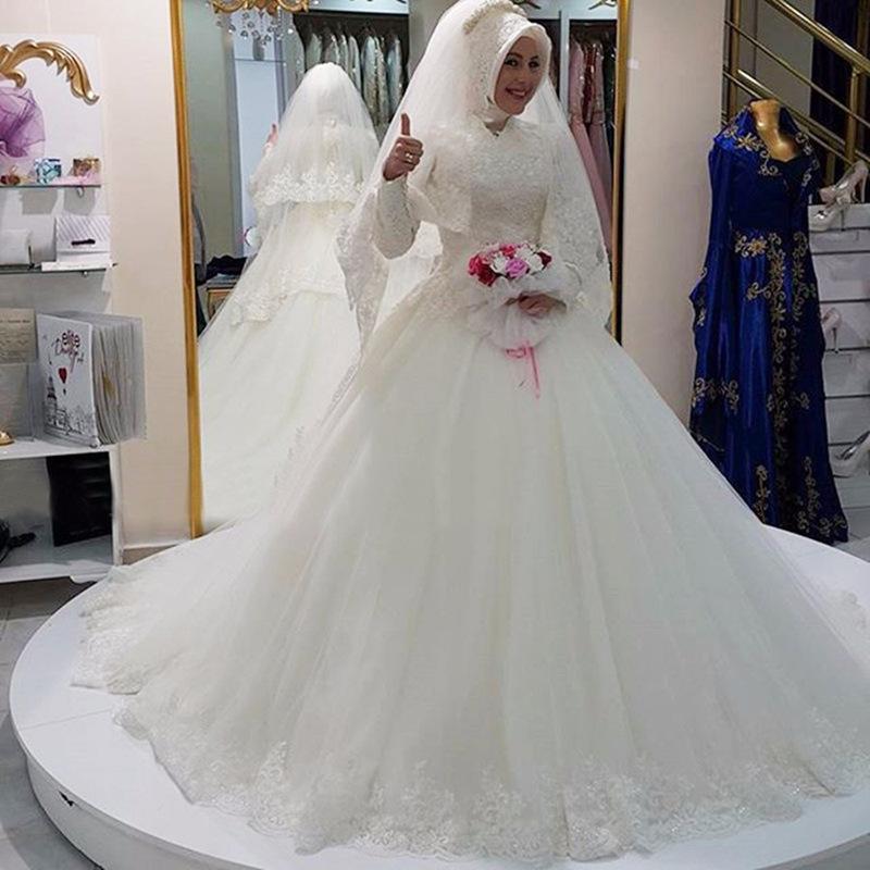 Trouwjurk Kant Lange Mouw.2018 Arabische Hijab Moslim Trouwjurk Lange Mouwen Saudi Arabian