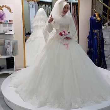 Longue Robe À Mariée Manches Arabe Longues Taille Train De Hijab Musulmane En 2018 Grande Dentelle Saoudien sQCtdhr