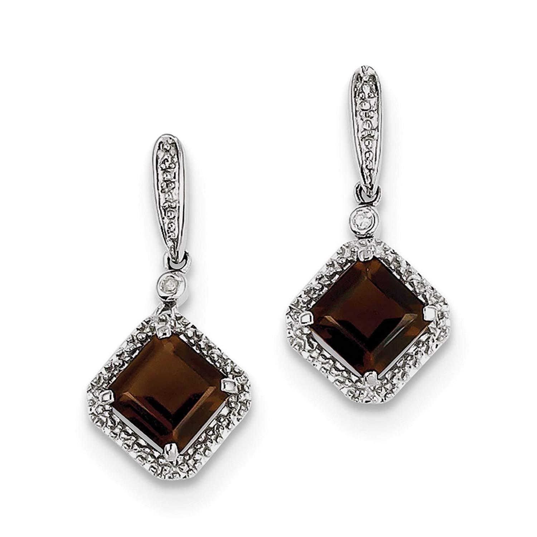 .925 Sterling Silver Rhodium-plated Smoky Quartz & Diamond Dangle Post Earrings