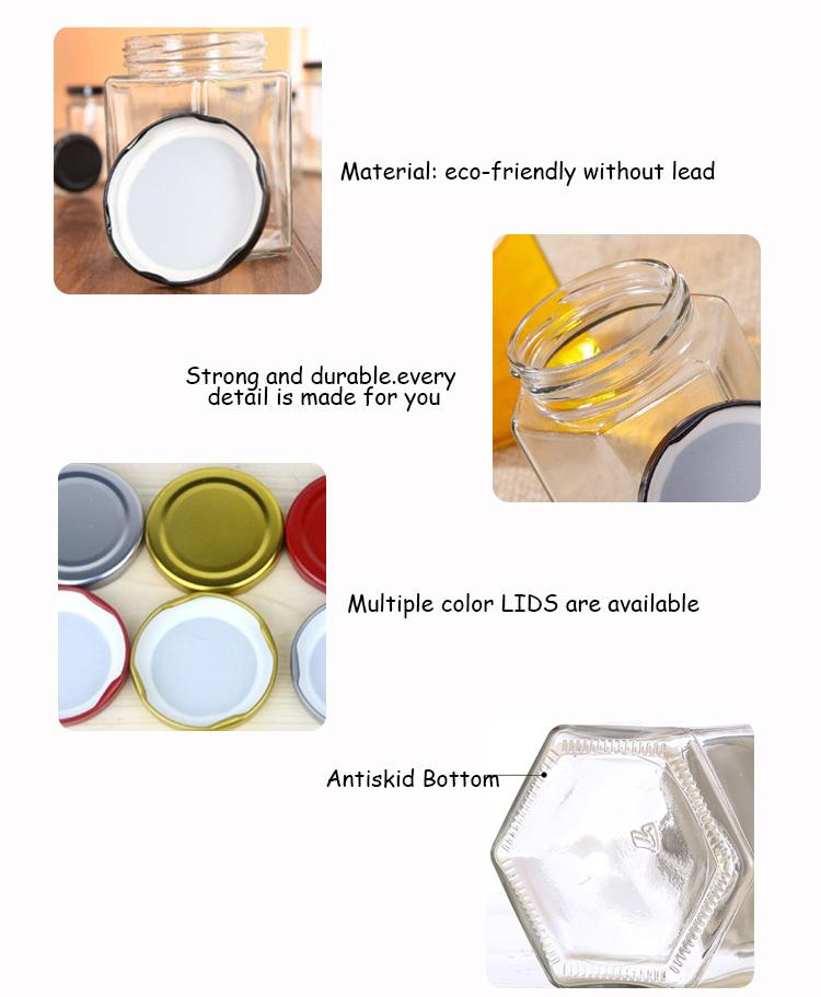 Atacado 50 ml/100 ml/250 ml/500 ml/1000 ml potes de conservas de vidro hexágono