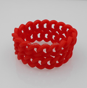 newest cheap link-band silicone chain link bracelet