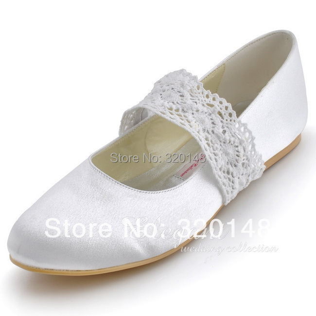 Free Shipping EP8009 Plus Size 35-43 White,Ivory Round Toe Low Heel Lace Belt Mary Janes Satin Wedding Bridal Women's Flat Shoes