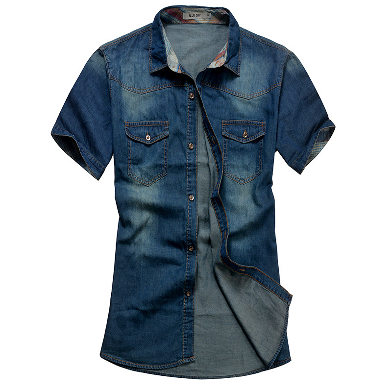 Men Jeans Shirt Cotton Thin Short Sleeve Denim Shirts Men s Single Breasted Patchwork Cowboy Camisas