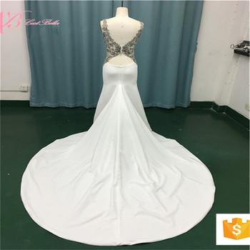 2017 Guangzhou Market African Elegant White Mermaid Wedding Dress Evening With Long Tail