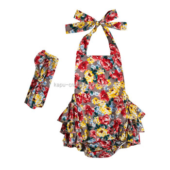 Hot sale fashion baby rompers girl flower halter jumpsuit toddlers sunsuit outfits with headband