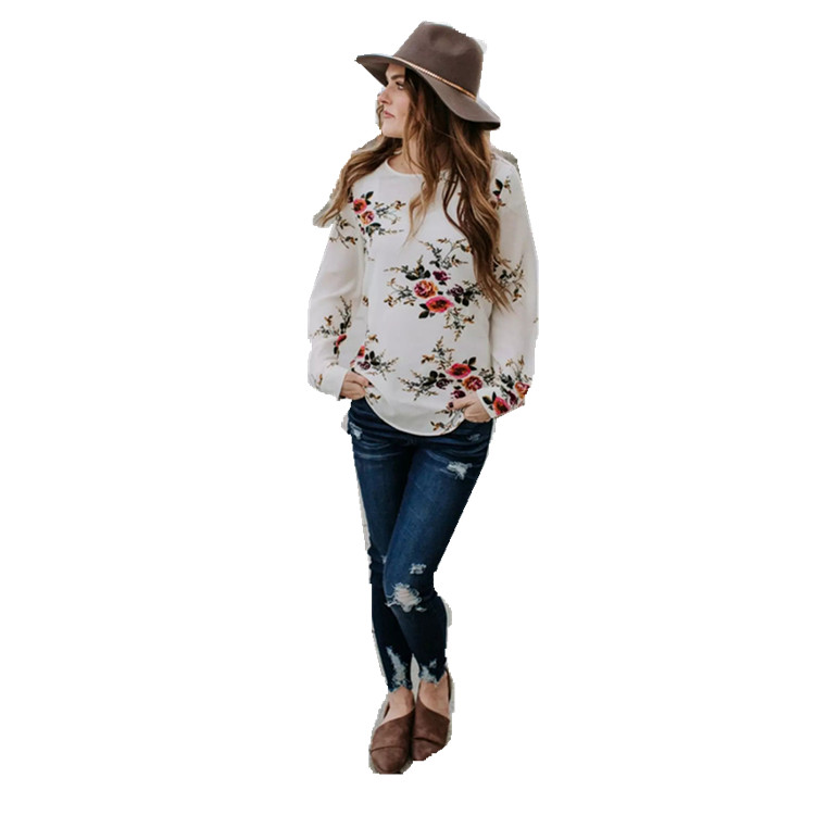 Wholesale Women Clothes Button O-Neck Long Sleeve Print T-Shirt