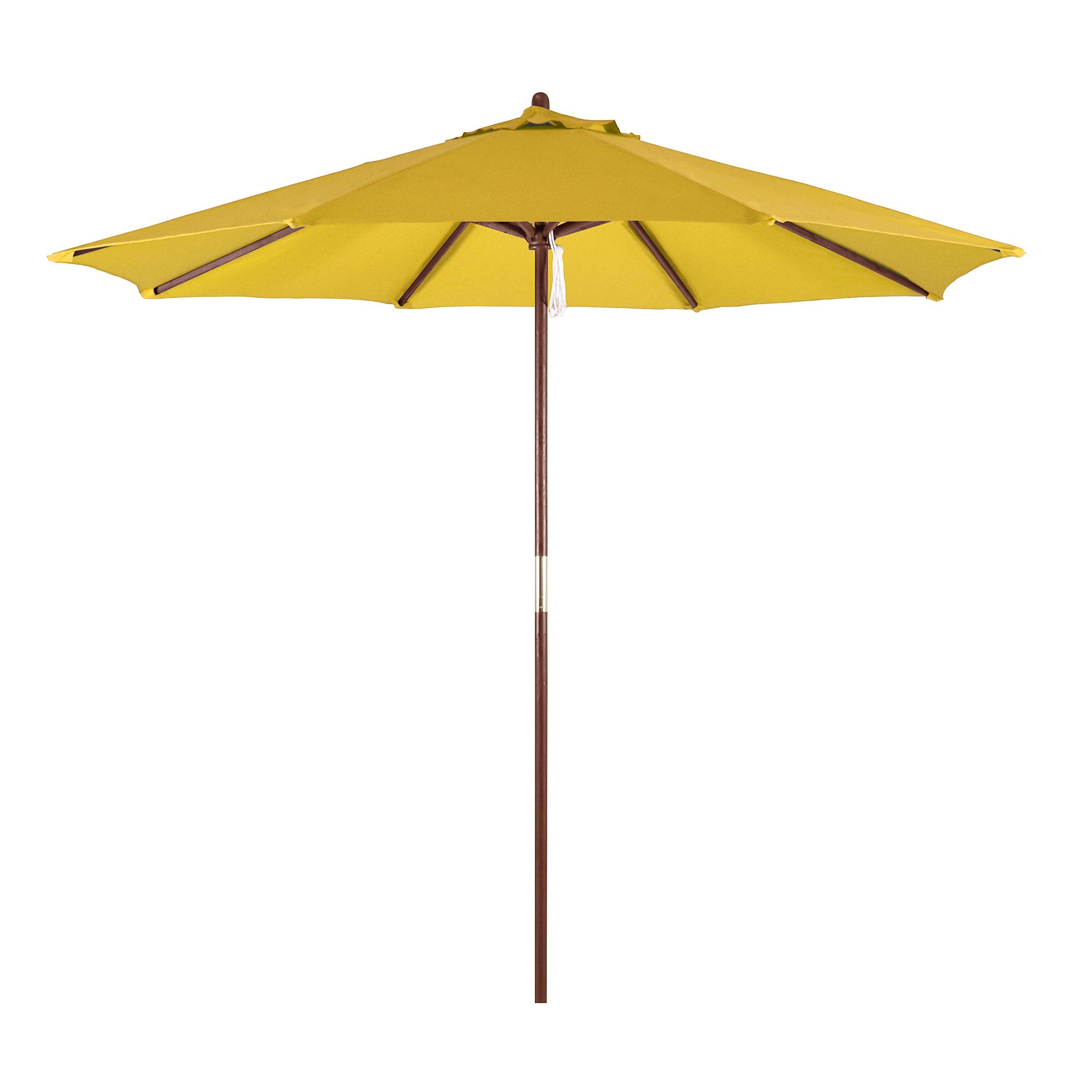 California Umbrella 9' Round Hardwood Frame Market Umbrella, Pulley Lift, Polyester Yellow