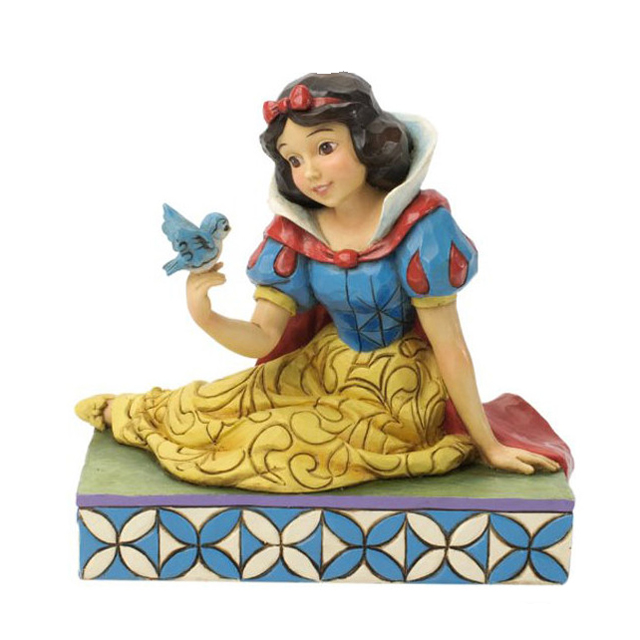 Colorful Resin Traditions Snow White Figurines with Bird