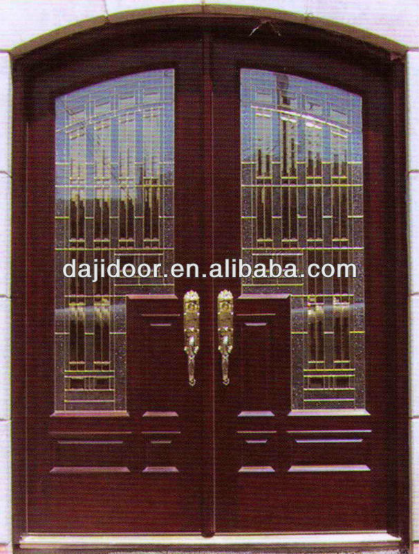 Arch Decorative Glass Wooden Front Double Doors Designs DJ-S9903MA