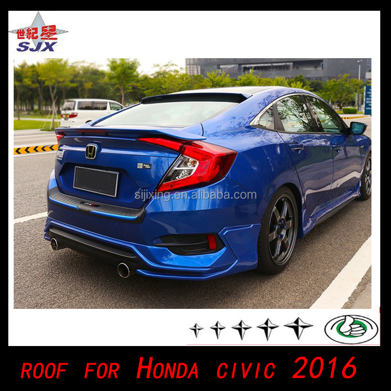 100% New Arrive! ABS Plastic Rear Spoiler For Honda Civic 2016 tail Lip spoiler Roof wing Auto accessories