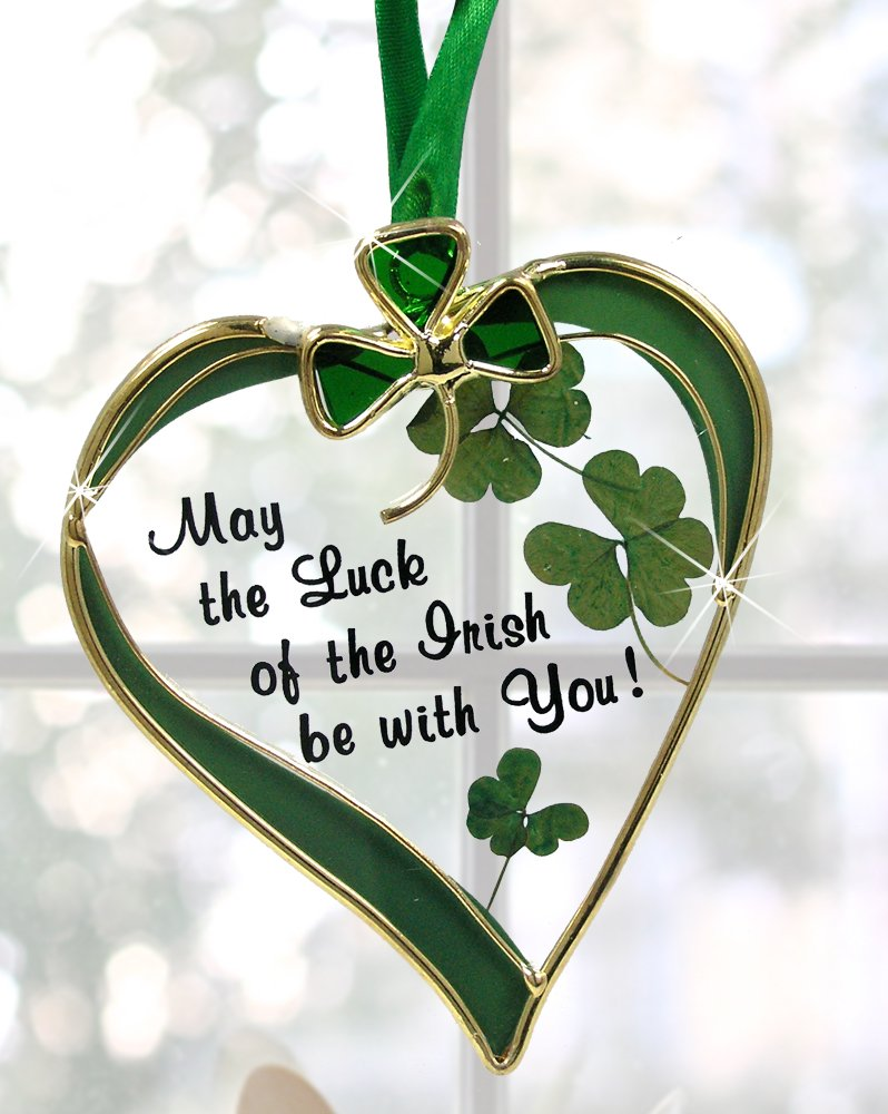 Irish Suncatcher - Glass Heart Sun Catcher with Shamrock Designs - May the Luck of the Irish Be with You - Irish Gift