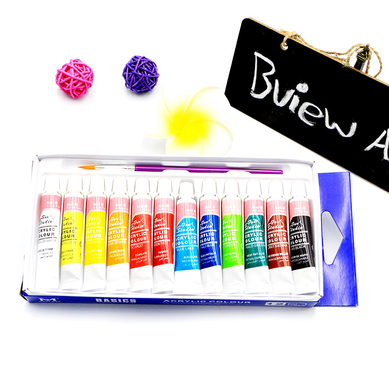 6 ML 12 Farbe Professionelle DIY Acryl Malen Set Mit Hand Wand Malerei Pinsel